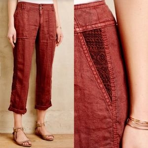 Anthropologie Hei Hei Embroidered Lace Linen Crops